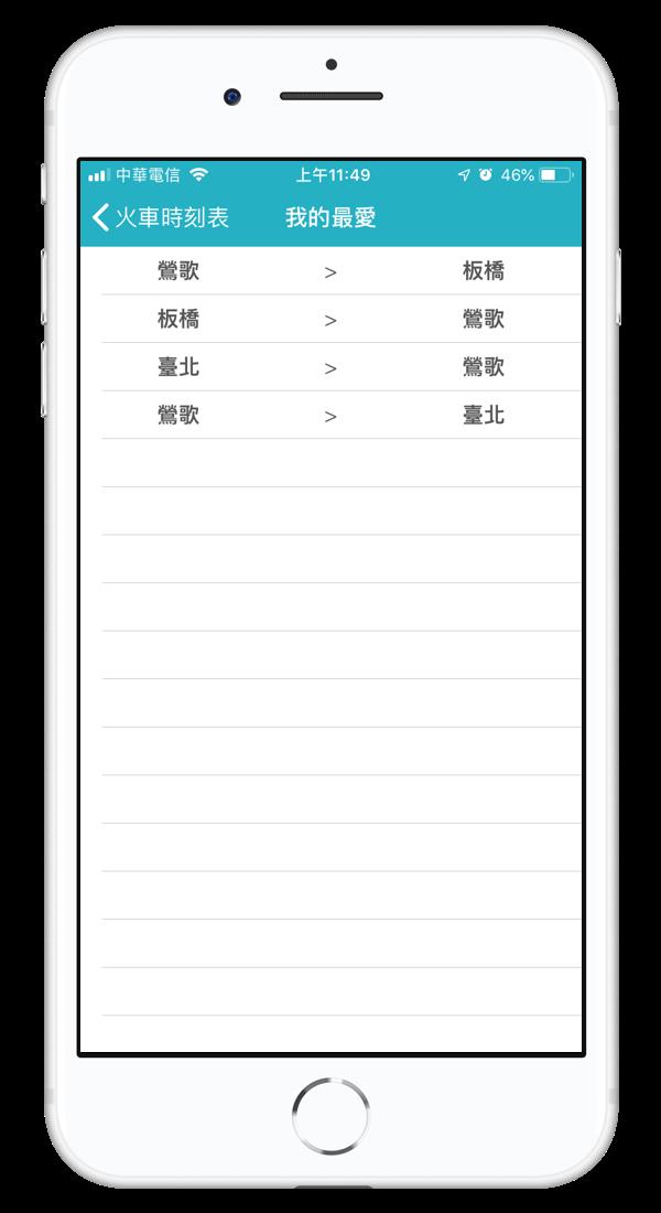 火車時刻表App,路線收藏